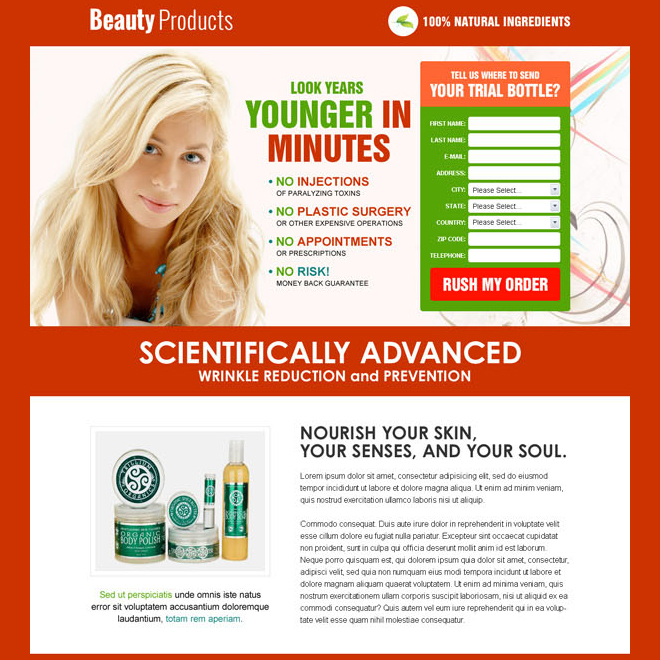 appealing and long lead capture html landing page design template for selling your beauty product Beauty Product example
