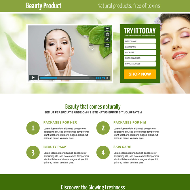 beauty product responsive video lead capture landing page Beauty Product example