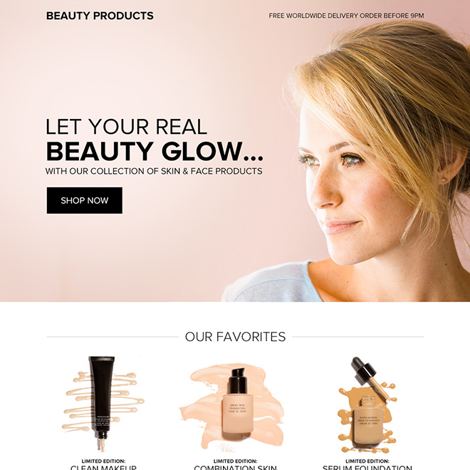 skin and face products selling bootstrap landing page Beauty Product example