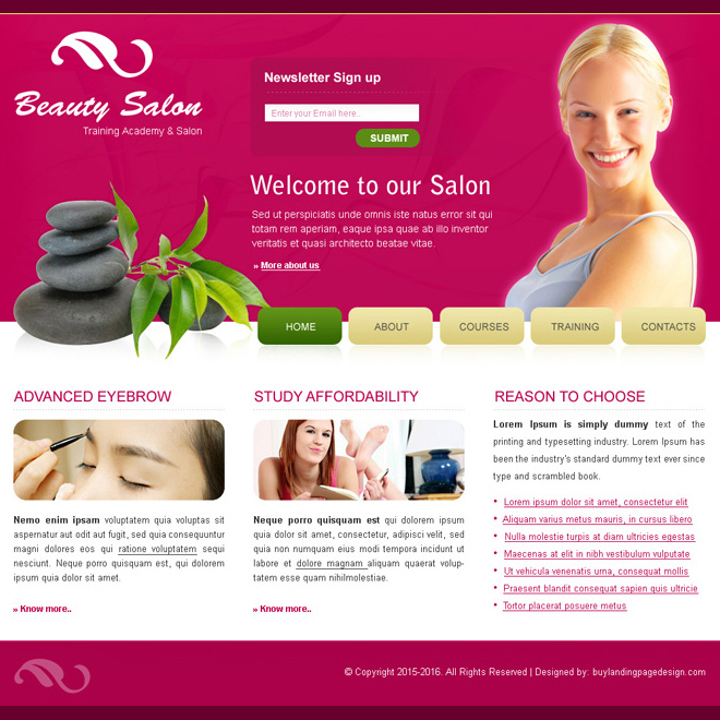 beauty salon website template psd for sale Website Template PSD example