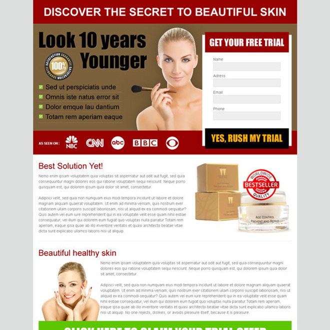 small lead capture beauty product landing page Beauty Product example