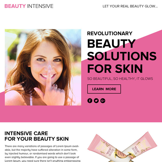 beauty solution lead funnel landing page design Beauty Product example
