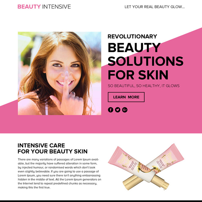 beauty solutions lead funnel responsive landing page design Beauty Product example