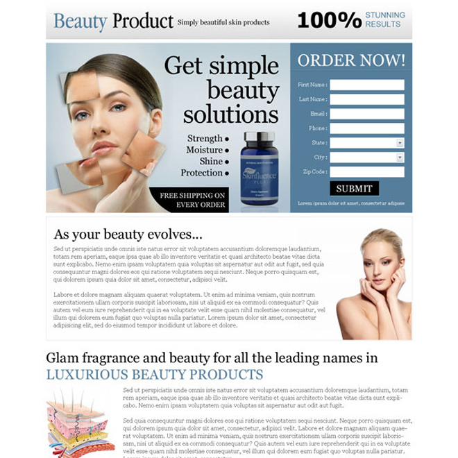 simple beauty product solutions order now lead capture landing page design Beauty Product example