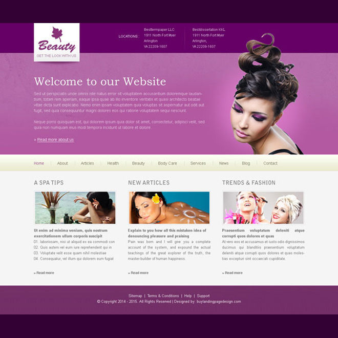 clean and attractive beauty website template design psd Website Template PSD example