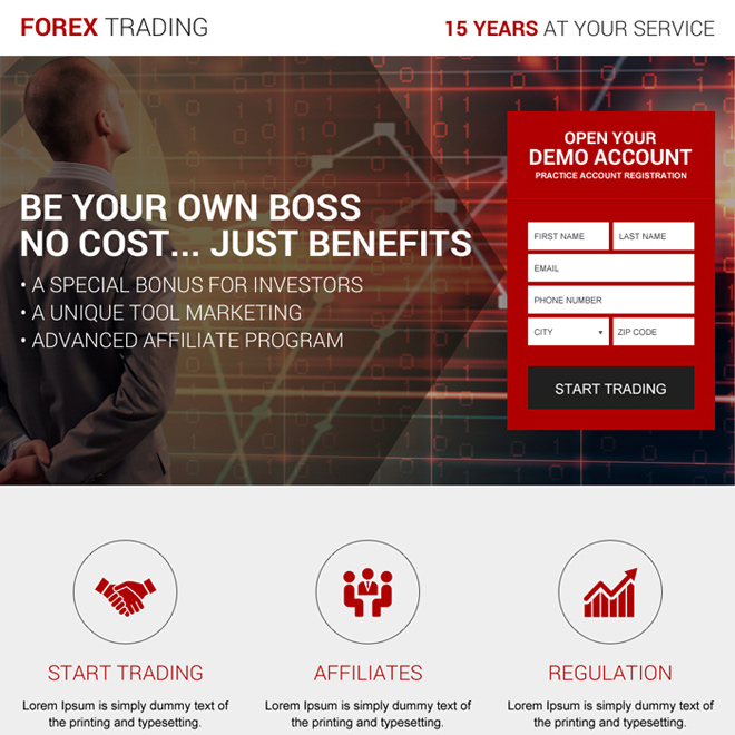 forex exchange trading broker lead capturing landing page Forex Trading example