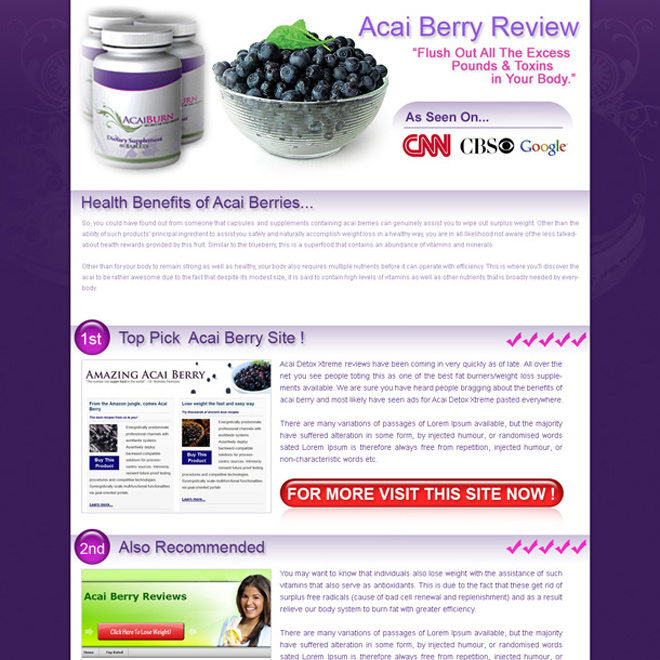 acai berry top 3 website review html landing page design template Landing Page Design example