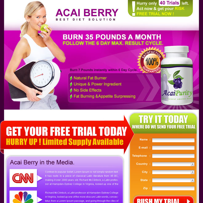 effective and converting acai berry weight loss landing page design template for sale Weight Loss example