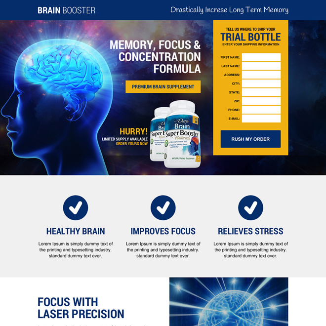 responsive brain booster supplement landing page design Health and Fitness example