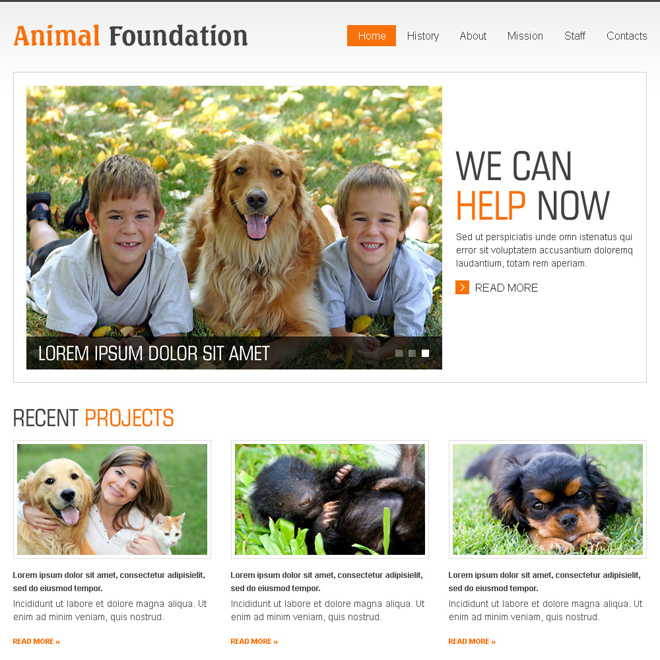 animal foundation clean and effective html website template design Animals and Pets example