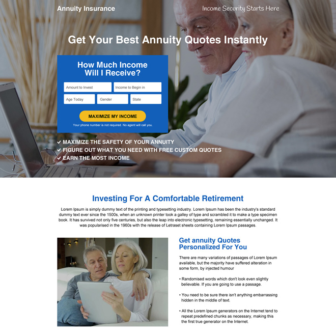 best annuity insurance lead capturing landing page design Retirement Planning example