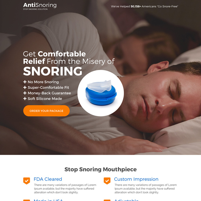 best anti snoring device selling landing page design Anti Snoring example