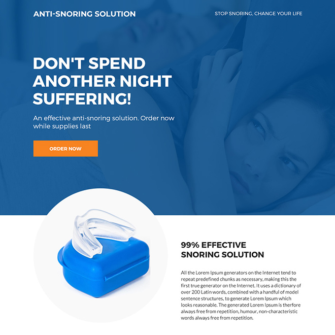 anti snoring device selling bootstrap landing page Anti Snoring example
