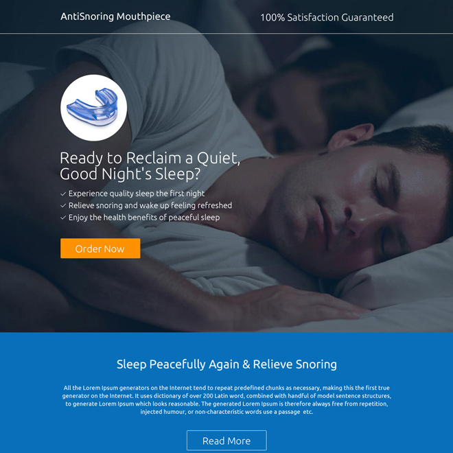 best anti snoring mouthpiece selling responsive landing page Anti Snoring example