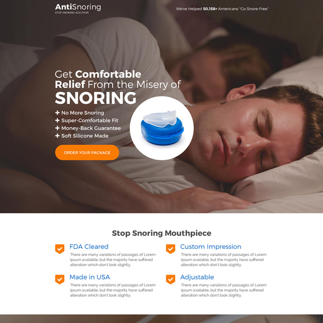 responsive anti snoring product selling long landing page Anti Snoring example