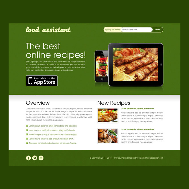 best app landing page design templates for restaurant Web Application example