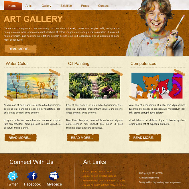best art gallery website template design psd for sale Website Template PSD example