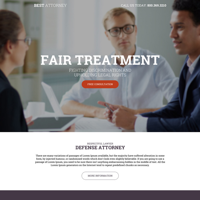 defense attorney free consultation providing landing page design Attorney and Law example