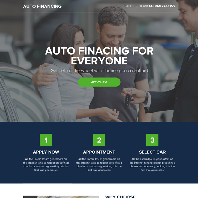 auto finance online application lead generating minimal landing page Auto Financing example