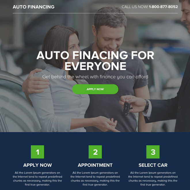 best auto financing service responsive landing page Auto Financing example