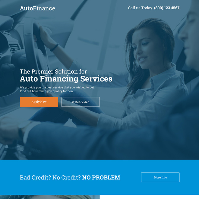 premier solution for auto financing services landing page Auto Financing example