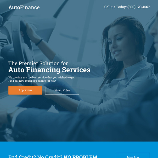 best auto financing services responsive call to action landing page Auto Financing example