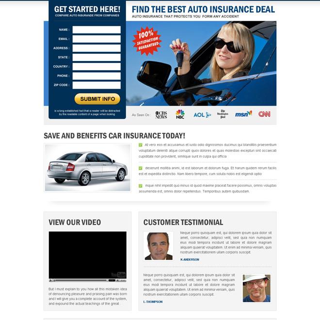 best auto insurance deals effective lead capture landing page design Auto Insurance example