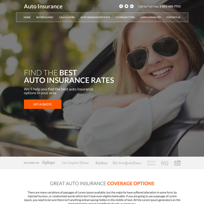 best auto insurance coverage instant quote capturing responsive website design Auto insurance example