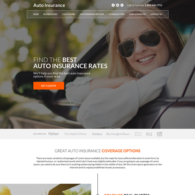 clean auto insurance rates minimal website design Auto Insurance example
