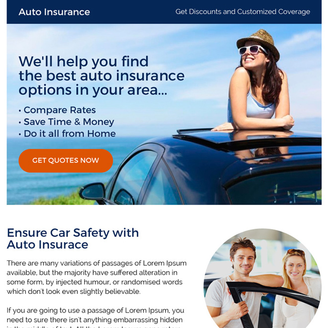 best auto insurance call to action ppv landing page Auto Insurance example