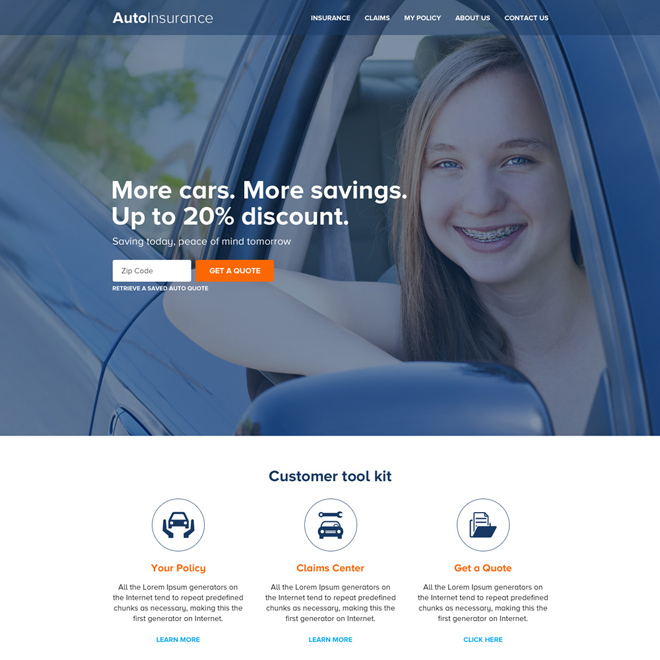 best auto insurance html website design template Auto Insurance example