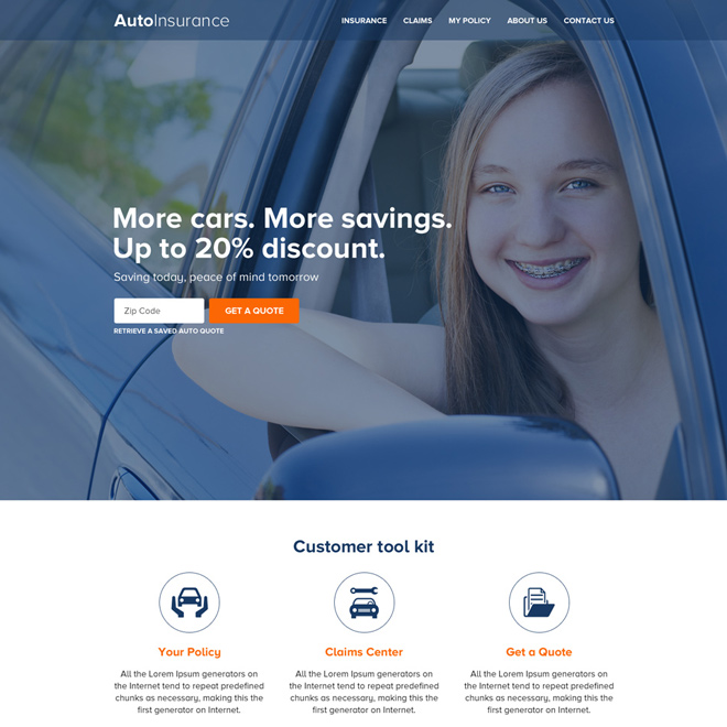 auto insurance zip capturing responsive website design Auto insurance example