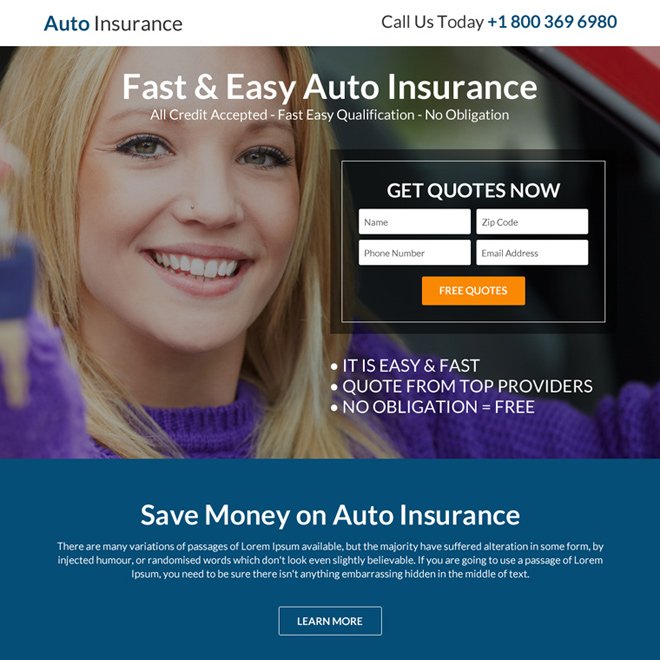 responsive auto insurance lead capturing landing page design Auto Insurance example