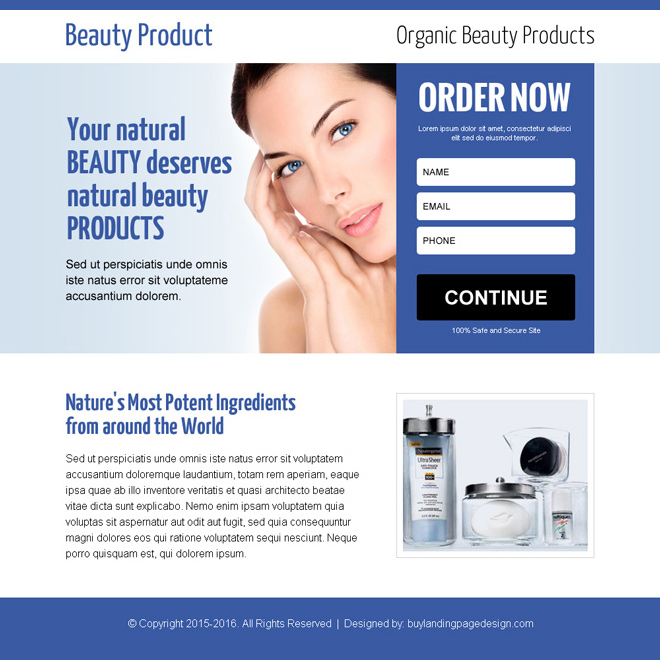 best beauty product lead gen ppv landing page design Beauty Product example
