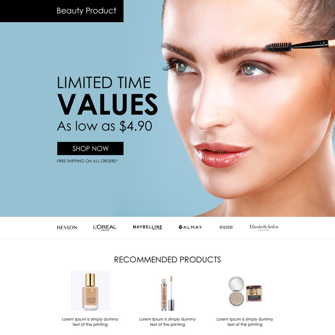 beauty products selling appealing landing page design Beauty Product example