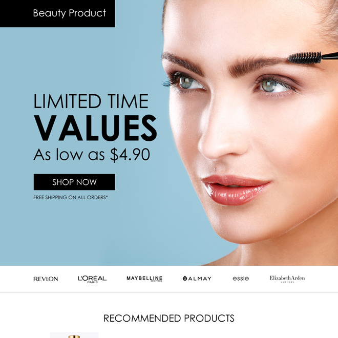 best beauty products selling responsive landing page design Beauty Product example