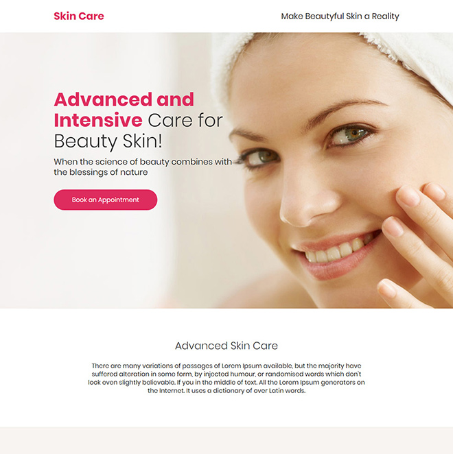 advanced skin care treatment responsive landing page design Skin Care example