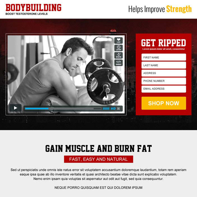 best bodybuilding service responsive video landing page design Bodybuilding example