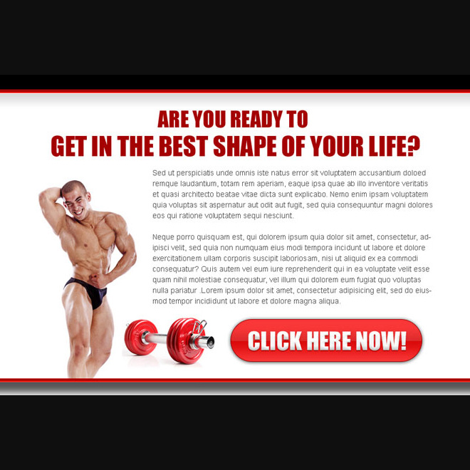 get the best shape of your body ppv landing page design Bodybuilding example