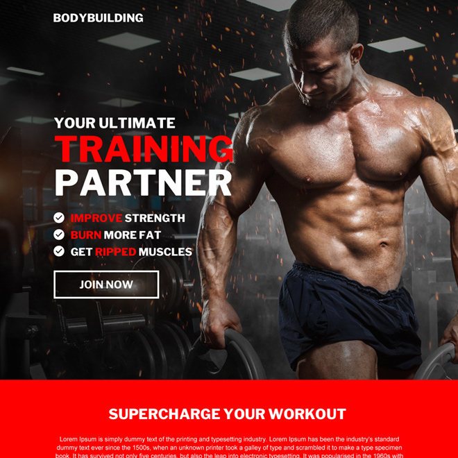 best bodybuilding training bootstrap landing page design Bodybuilding example