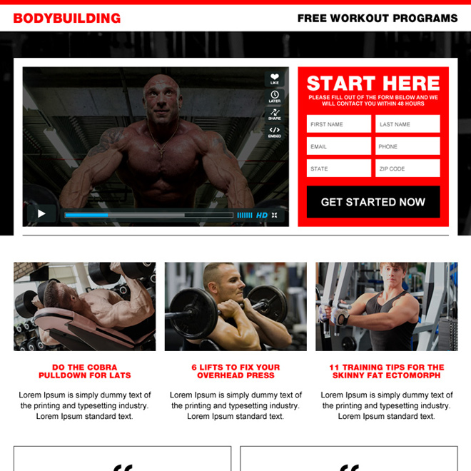 best body building workout video landing page design Bodybuilding example