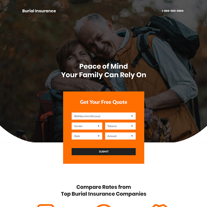 top burial insurance companies professional lead generating landing page Burial Insurance example