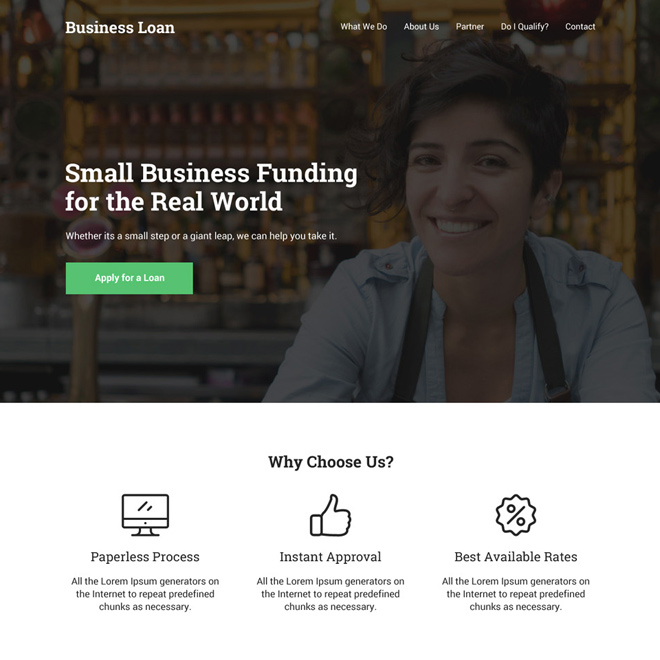 small business funding responsive website design Business Loan example