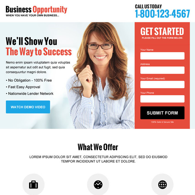 best business marketing lead gen responsive landing page design Business Opportunity example