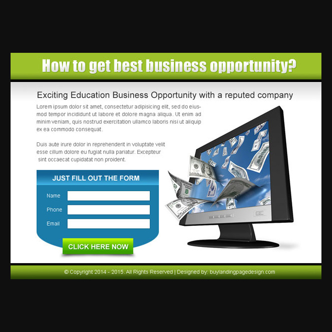 exciting education business opportunity lead capture ppv design PPV Landing Page example