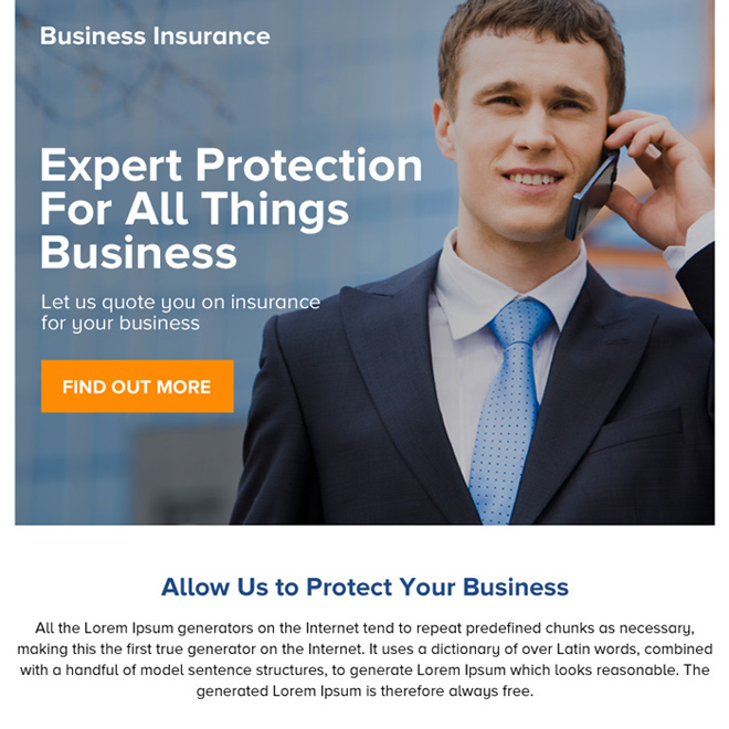 best business protection ppv landing page design Business Insurance example