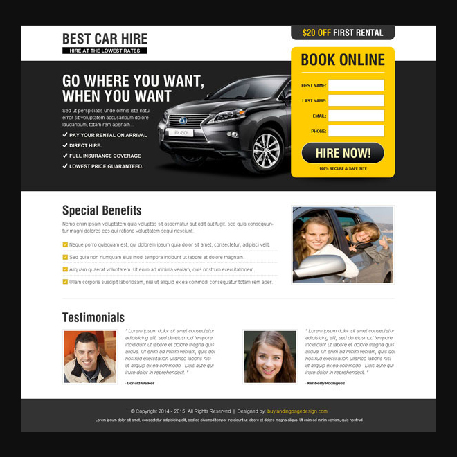 best car hire landing page design Car Hire and Car Rental example