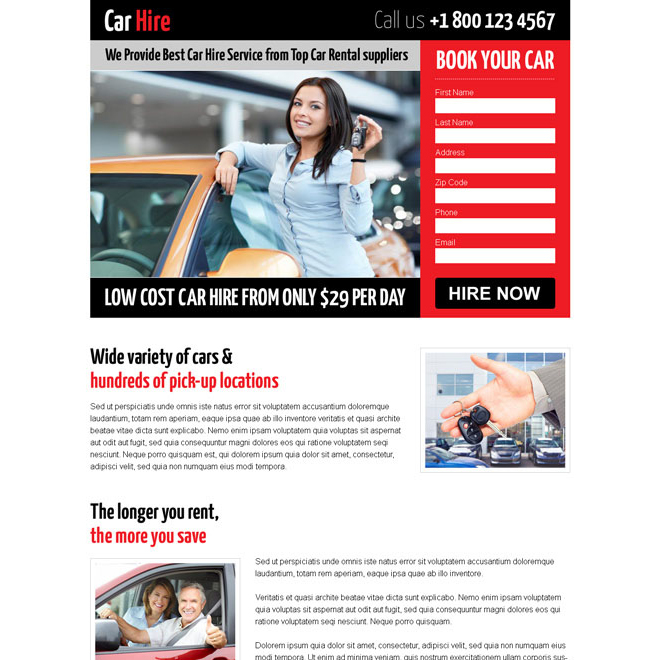 attractive low cost responsive lead capture landing page design for car hire Car Hire and Car Rental example