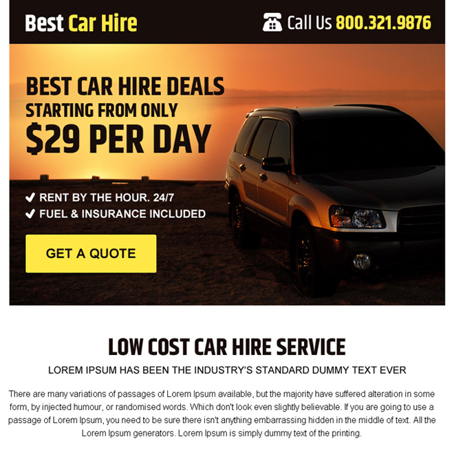 best car hire service free quote ppv landing page design Car Hire example