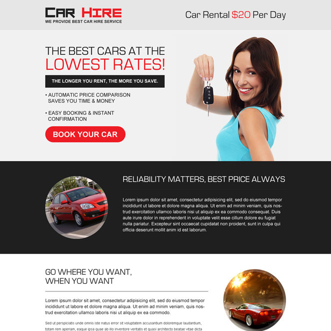 best car hire service responsive landing page design Car Hire and Car Rental example